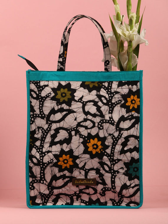MultiColour Hand Block Printed Tote Bag - B0304