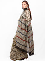 Beige Black Maroon Hand Block Printed Chiffon Saree with Zari Border - S031703425
