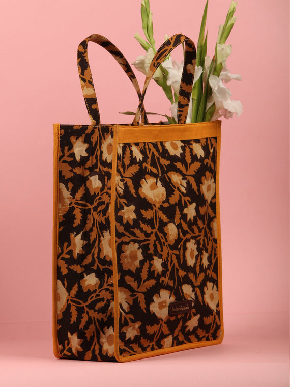 Black Mustard Hand Block Printed Tote Bag - B0306