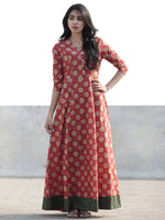 Coral Yellow Green Hand Block Printed Cotton Long Dress With Tie-Up Back Waist - D162F1092
