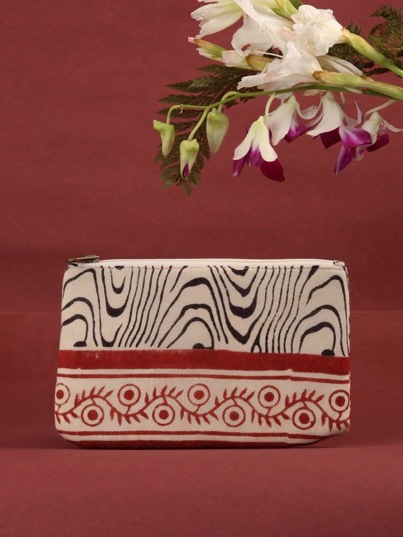 Off White Black Hand Block Printed Utility Pouch - B0604