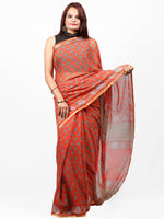 Coral Green Hand Block Printed Chiffon Saree with Zari Border - S031703438