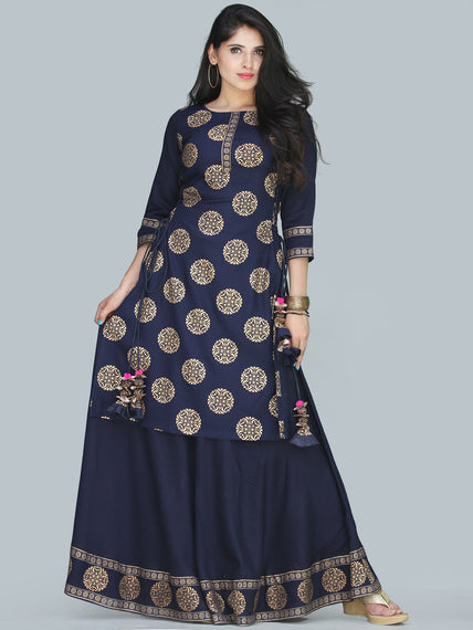 Aalia - Indigo Gold Block Print Kurta & Skirt Dress With Tassels - D380FXXXX