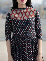 Indigo Red White Ivory Hand Block Printed Long Cotton Dress With Stand Collar and Pintuck - D214F895