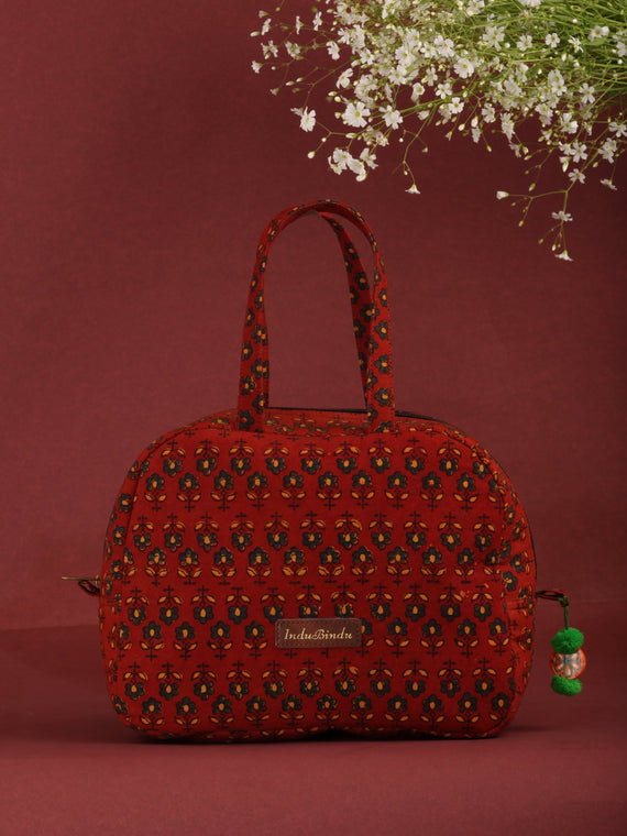Brick Red Ajrakh Hand Block Printed Bucket Style Hand Bag - B0702
