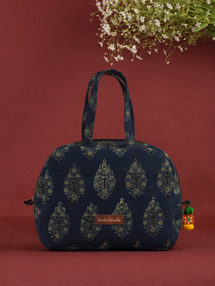 Indigo Green Hand Block Printed Bucket Style Hand Bag - B0704