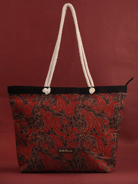 Brown Red Ajrakh Hand Block Printed Tote Bag - B0803