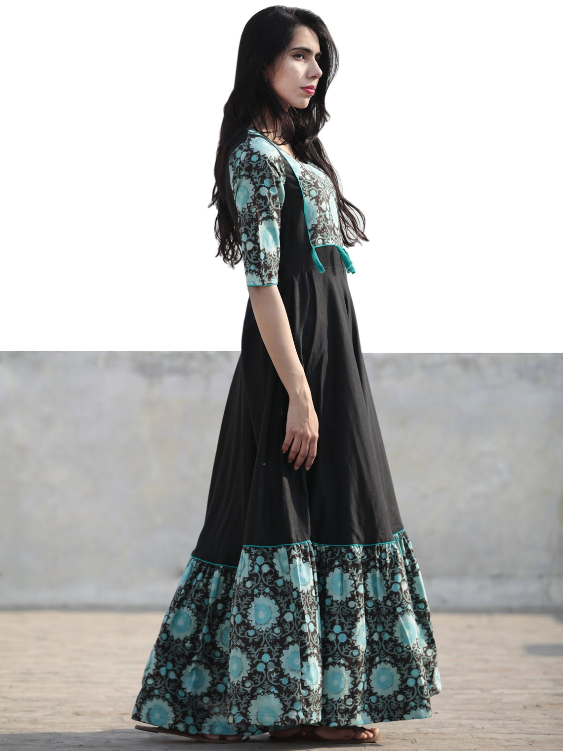 Black Sea Green Hand Blocked Long Cotton Rayon Dress With Tassel - D181F1062