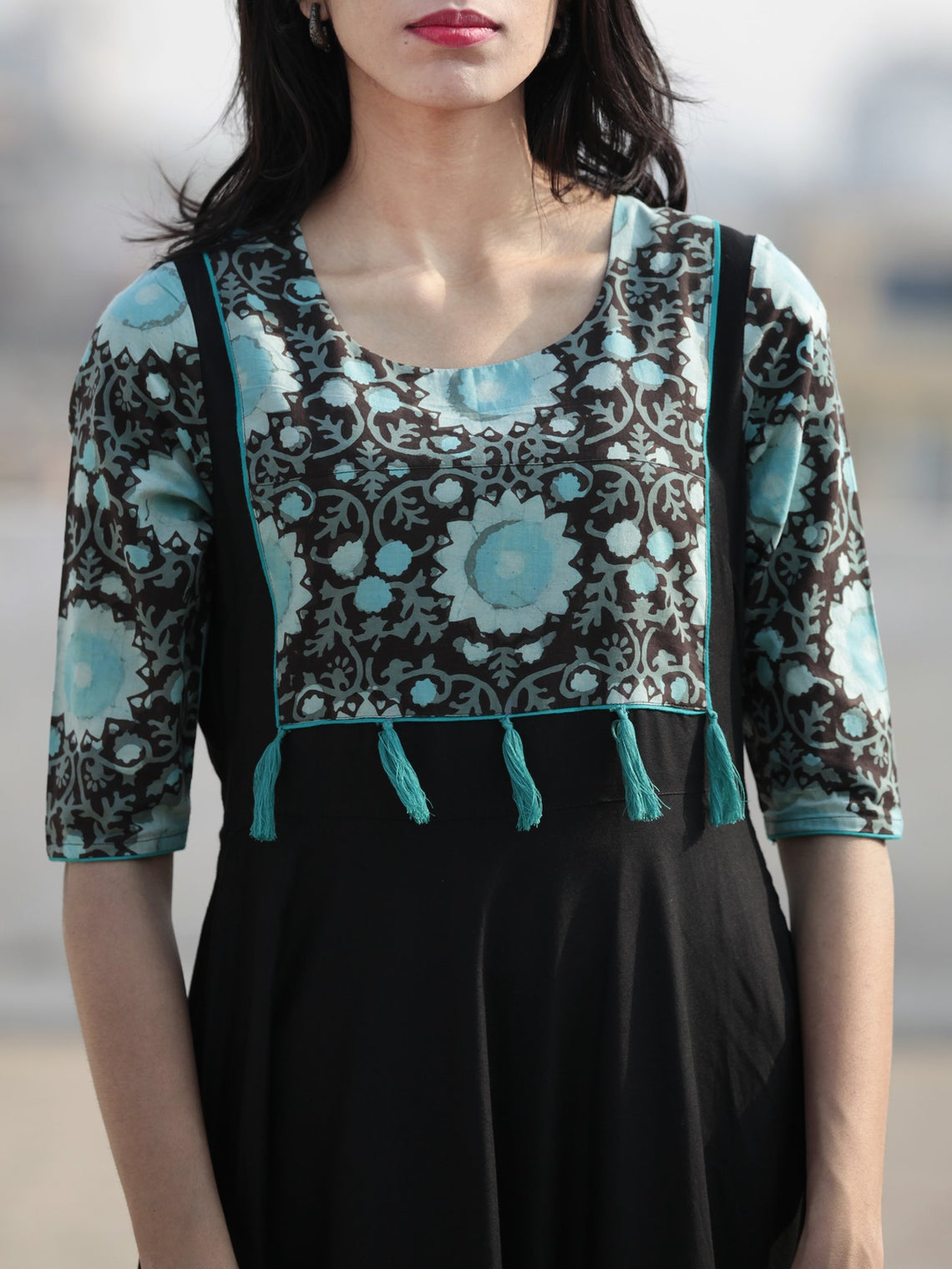 4af752459a ... Black Sea Green Hand Blocked Long Cotton Rayon Dress With Tassel -  D181F1062 ...