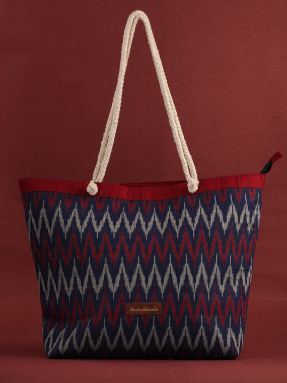 Indigo Red Ikat Tote Bag - B0805