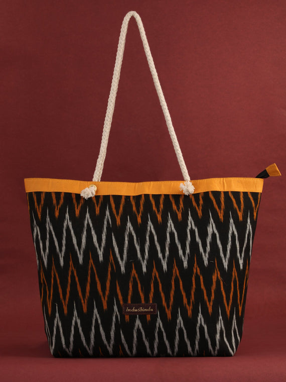 Black Mustard Ikat Tote Bag - B0807