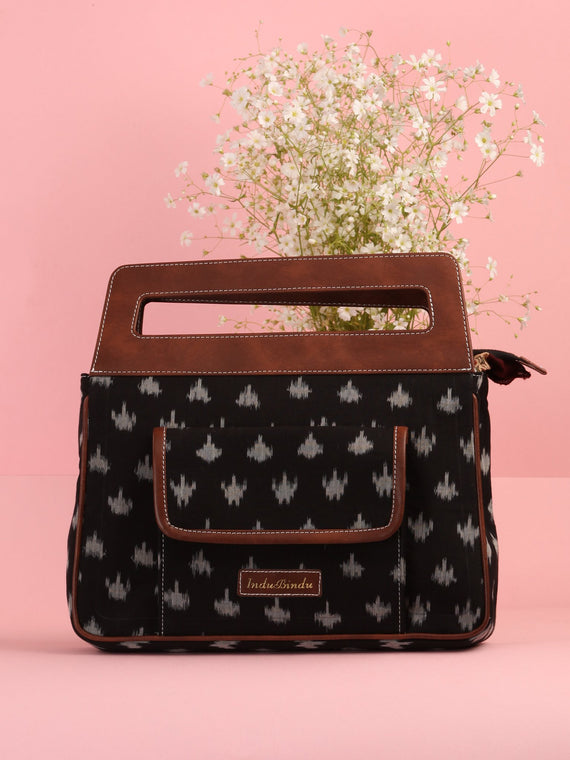 Black Ikat Baguette Bag with Vegan Leather Top Handles - B0903