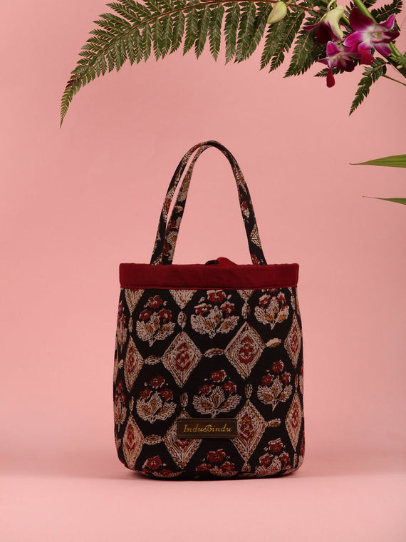 Black Maroon Hand Block Printed Bucket Utility Bag - B0201