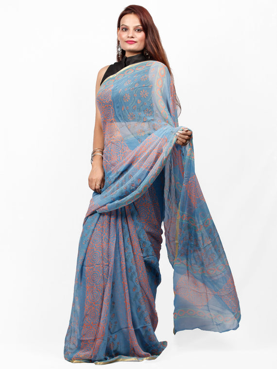 Steel Blue Coral Hand Block Printed Chiffon Saree with Zari Border - S031703415