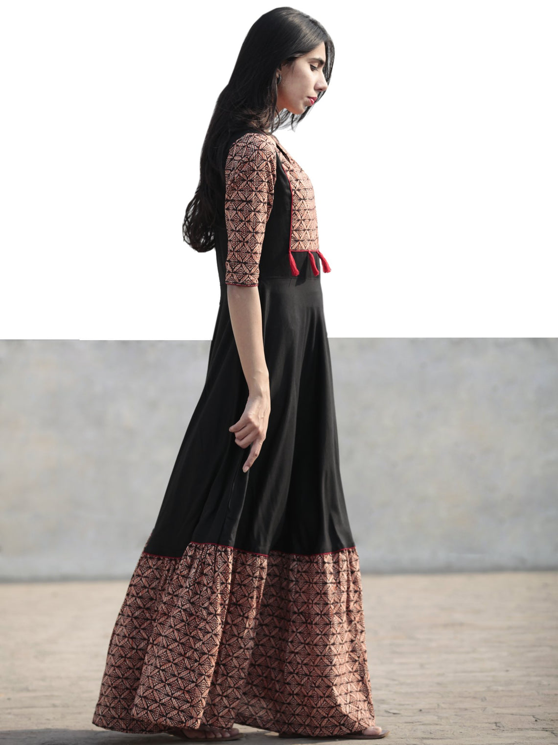 Black Beige Red Orange Hand Blocked Long Cotton And Rayon Dress With Tassel Details - D181F1075