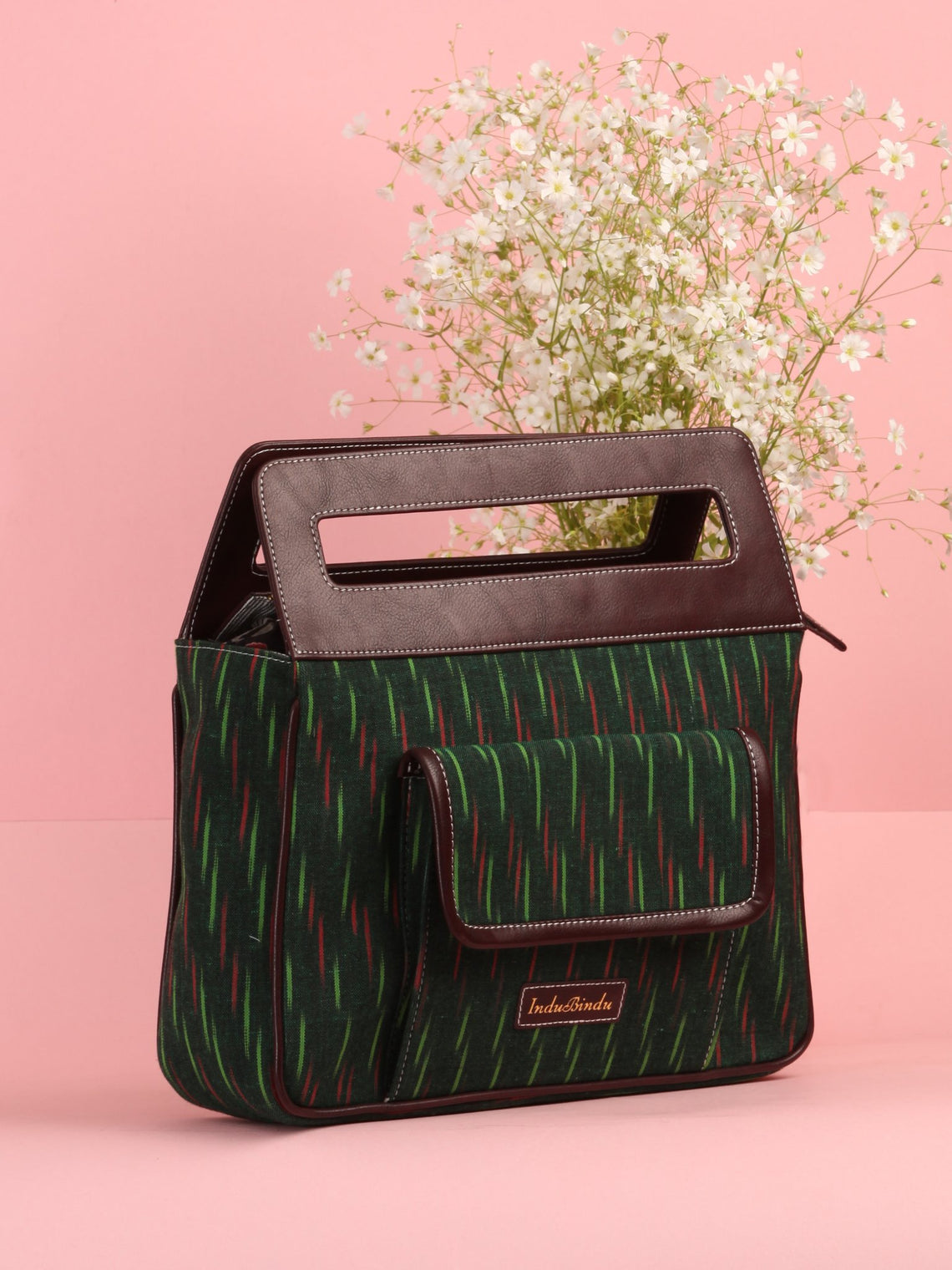 Bottle Green Ikat Baguette Bag with Vegan Leather Top Handles - B0906