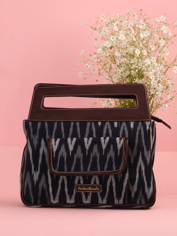 Black Grey Ikat Baguette Bag with Vegan Leather Top Handles - B0908
