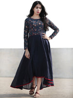 Indigo Black Maroon Ivory Hand Blocked Cotton Asymmetrical Dress - D216F440