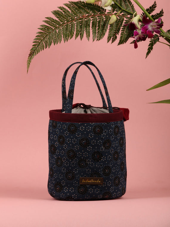Indigo Black Ajrakh Block Printed Bucket Utility Bag - B0203