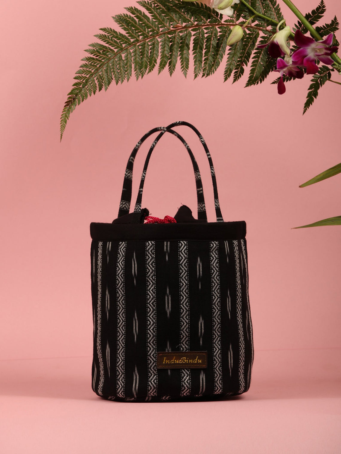 Black White Ikat Bucket Utility Bag - B0206