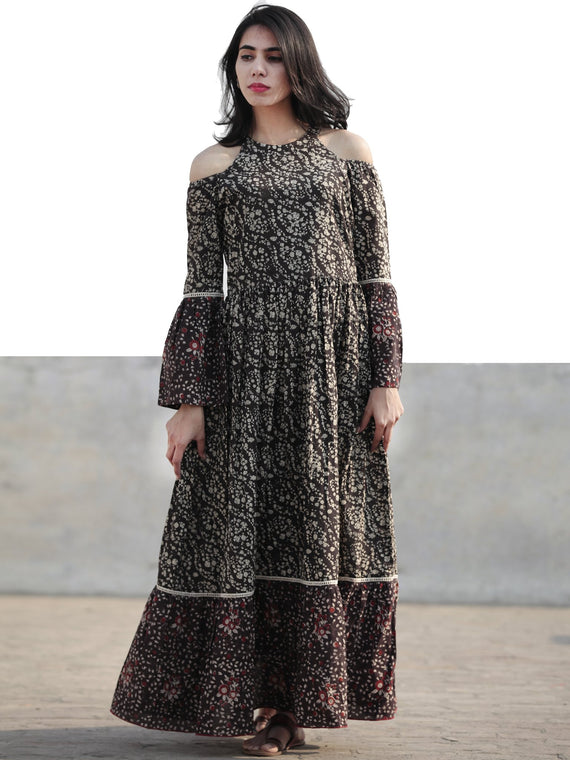 Black Brown Ivory Maroon Long Hand Block Cotton Tier Dress With Cold Shoulder  - D146F1221