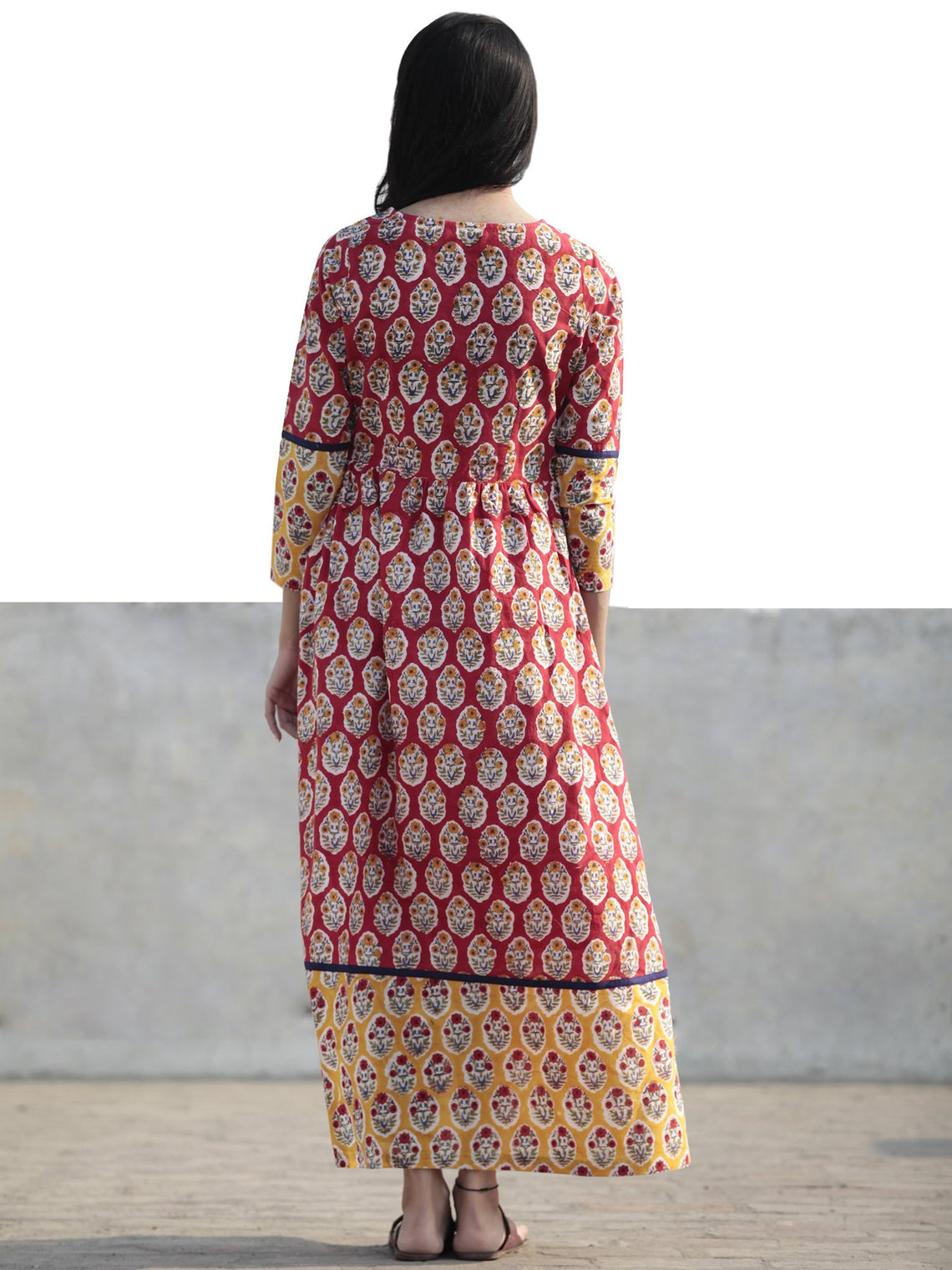 Red Yellow Indigo Green Ivory Long Hand Block Cotton Dress  - D217F774