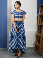 Naaz Neelofar - Indigo White Tie And Dye Cotton High Low Dress With Elasticated Waist  - DS48F001