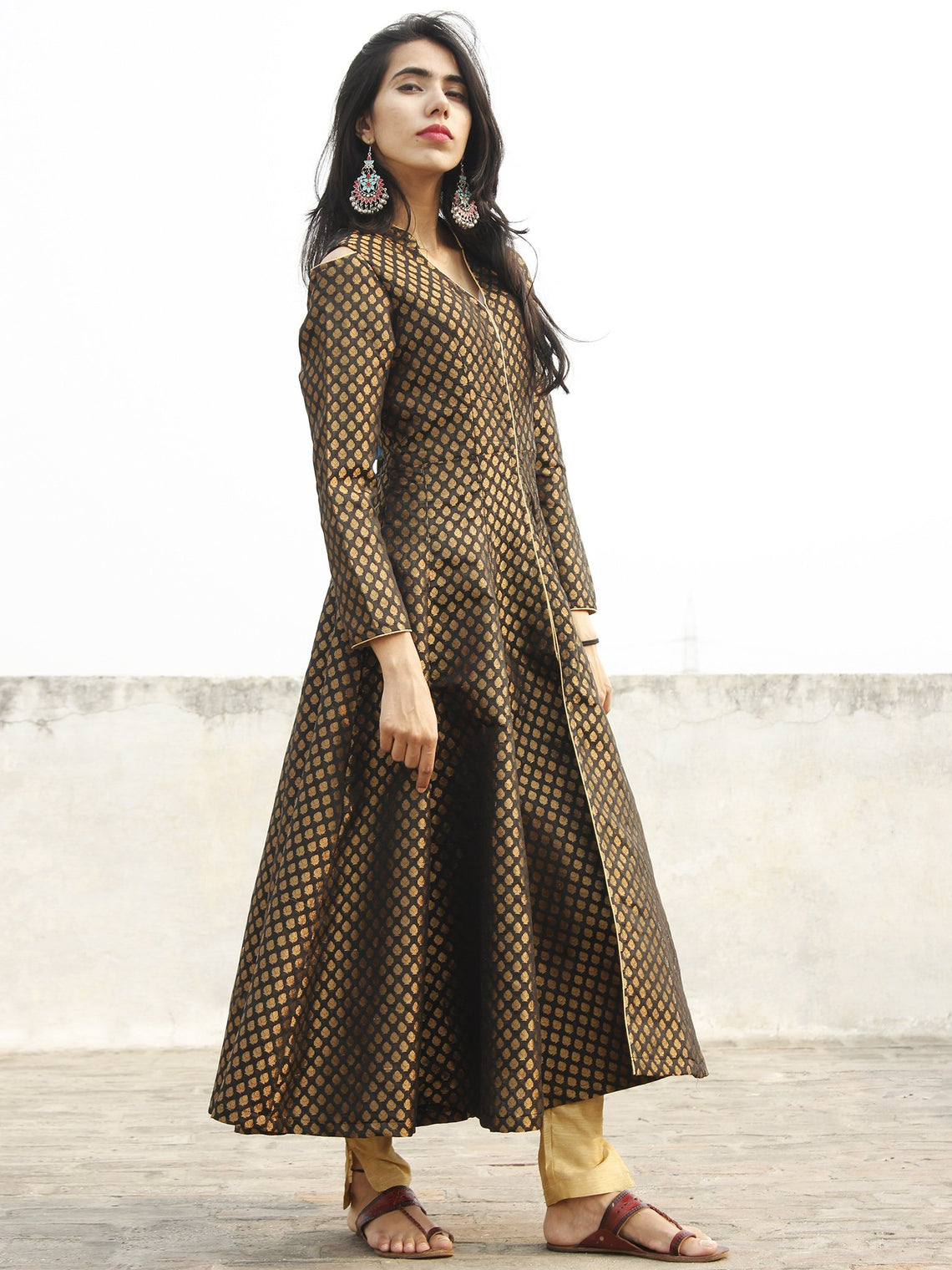 Black Golden Brocade Kurta With Front Slit And Cold Shoulder - D134F001