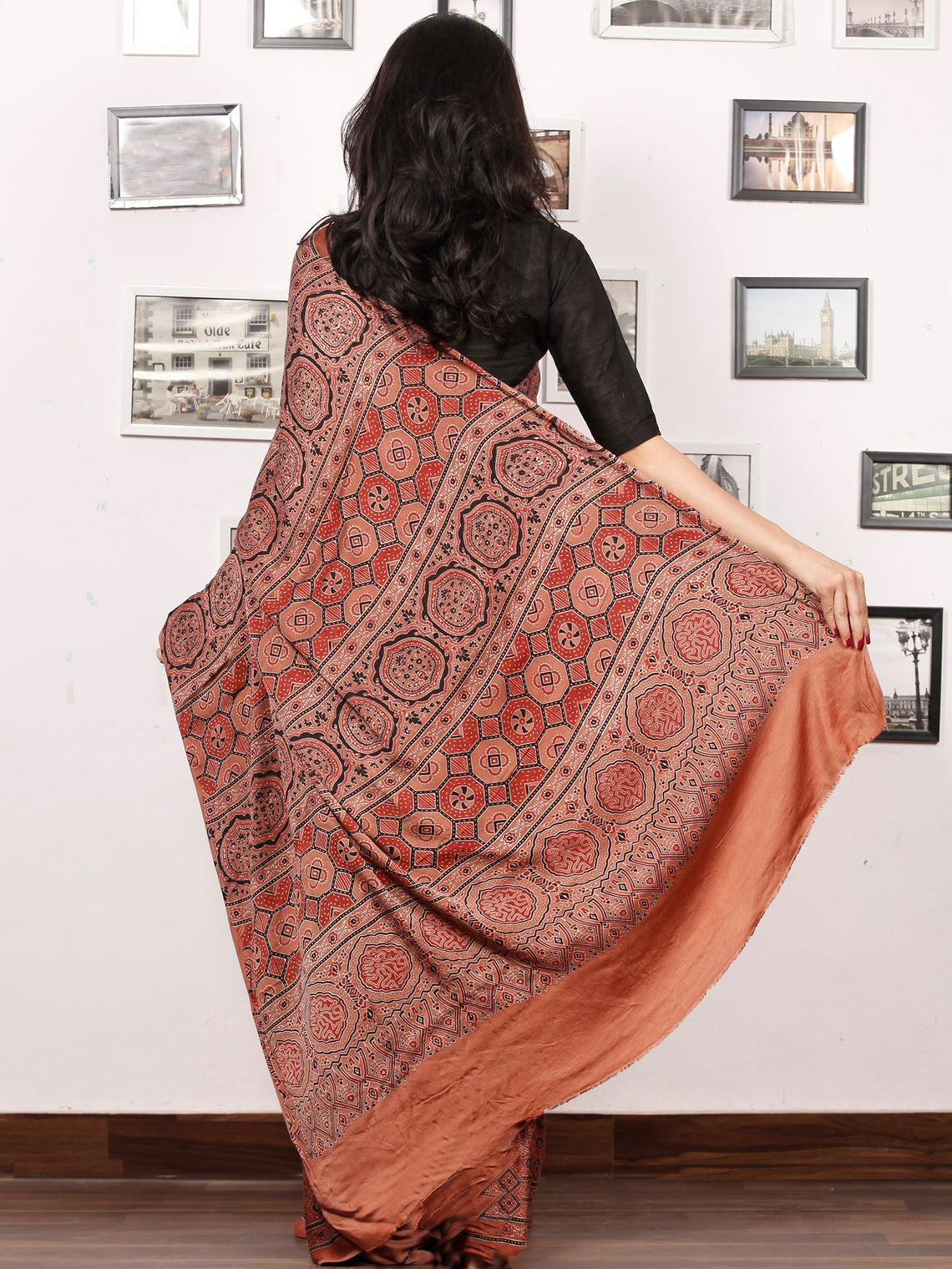 Rust Red Black Ajrakh Hand Block Printed Modal Silk Saree in Natural Colors - S031703378