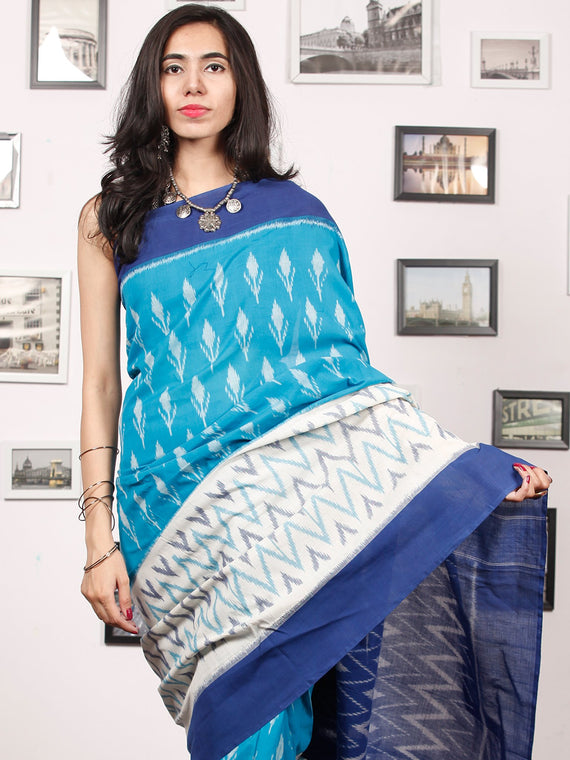 Blue White Grey Ikat Handwoven Pochampally Mercerized Cotton Saree - S031703409