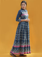 Naaz Rawza - Hand Block Printed Long Cotton Dress With Front Zip - DS82F001