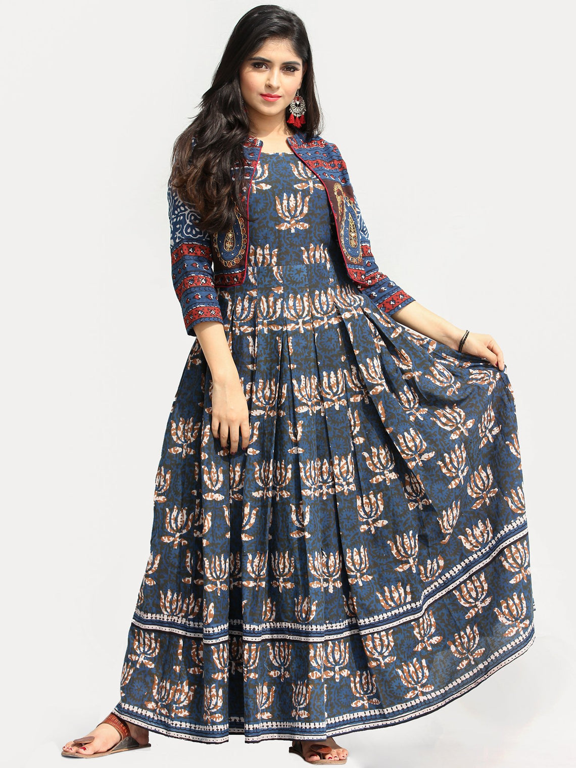 Roheen - Hand Block Printed Long Cotton Box Pleated Embroidered Jacket Dress - DS98F003