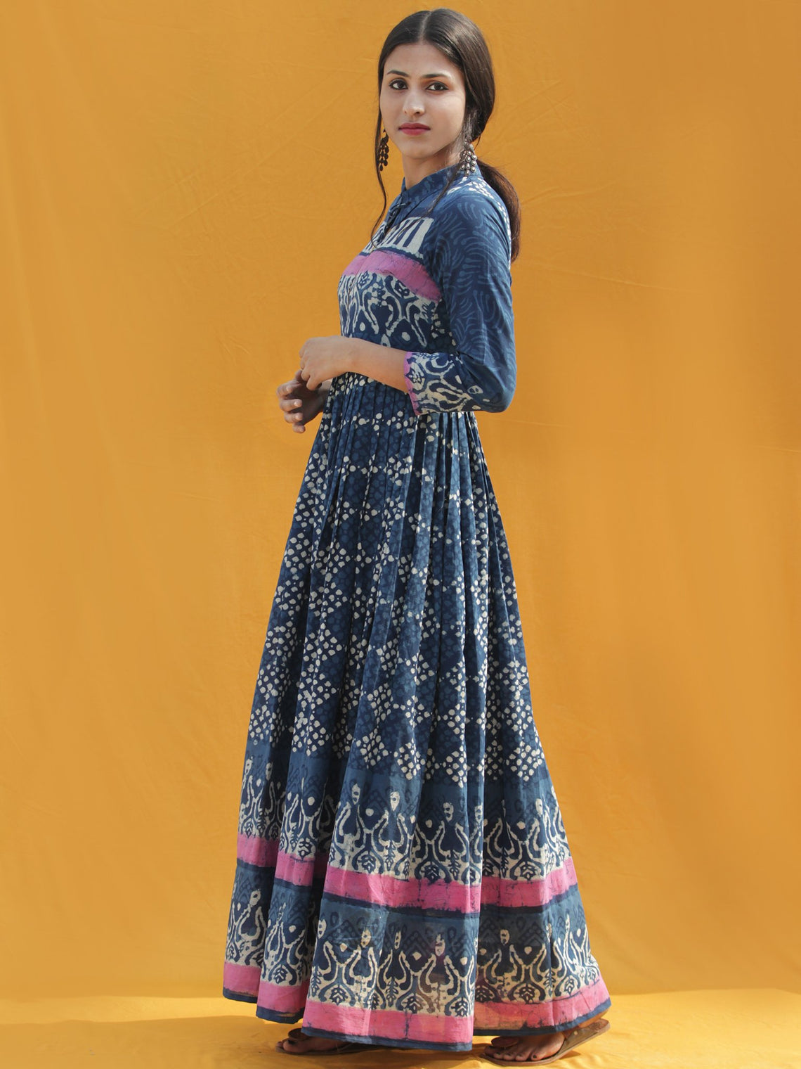Rawza - Hand Block Printed Long Cotton Dress With Front Zip - DS82F001