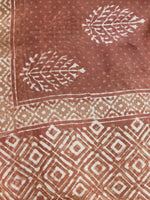 Brown Ivory Chanderi Hand Black Printed & Hand Painted Dupatta - D04170210