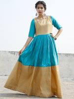 Golden Blue Long Floor Length Dress With Gathers - D121F001
