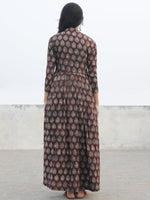 Chocolate Brown Beige Ivory Long Hand Block Cotton Dress With Knife Pleats  - D167F983