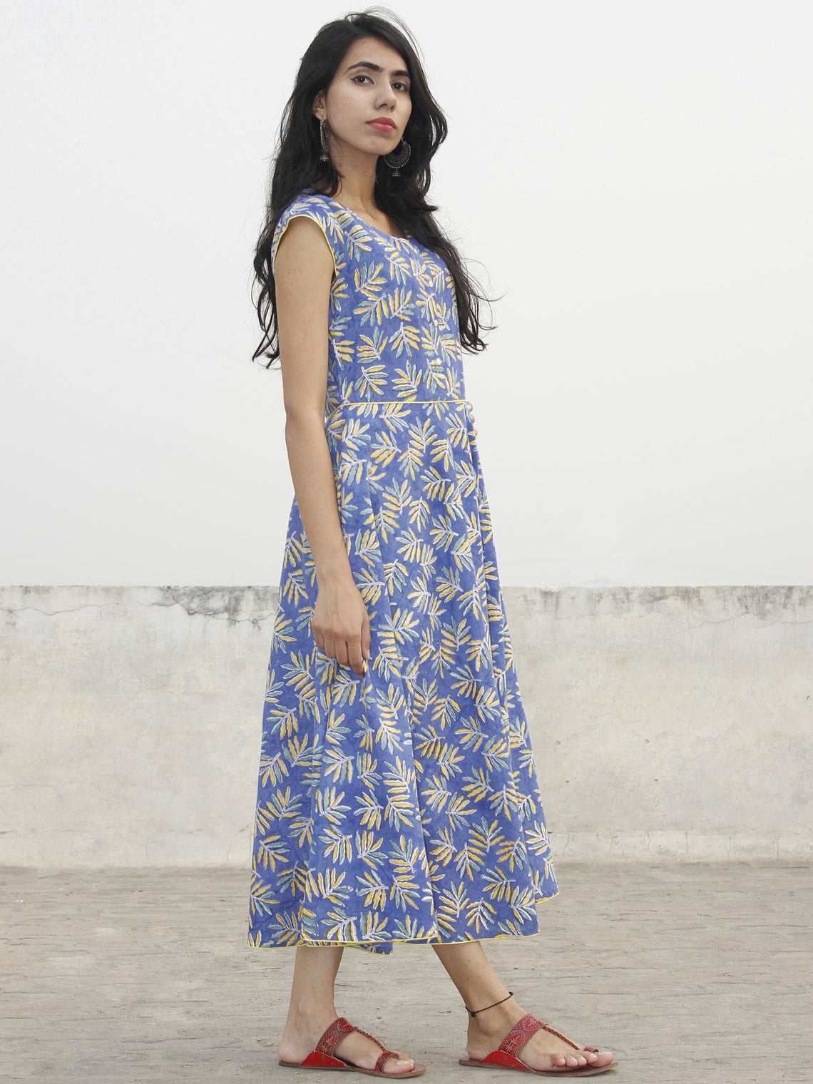 Cornflower Blue Yellow Green White Hand Block Printed Cotton Midi Dress  - D153F1067