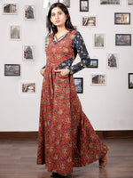 Red Indigo Ivory Hand Block Printed Long Cotton Dress With Pockets - D213F1218