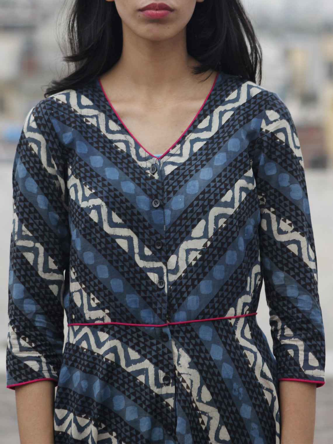 Grey Indigo Ivory Black Hand Block Printed Long Cotton Dress With Front Opening  - D79F901