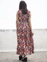 Red Beige Indigo Black Long Sleeveless Hand Block Printed Cotton Dress With Knife Pleats & Side Pockets - D32F986