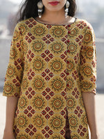 Yellow Maroon Black Hand Block Ajrakh Printed Long Cotton Dress With Side Pleat- D187F865