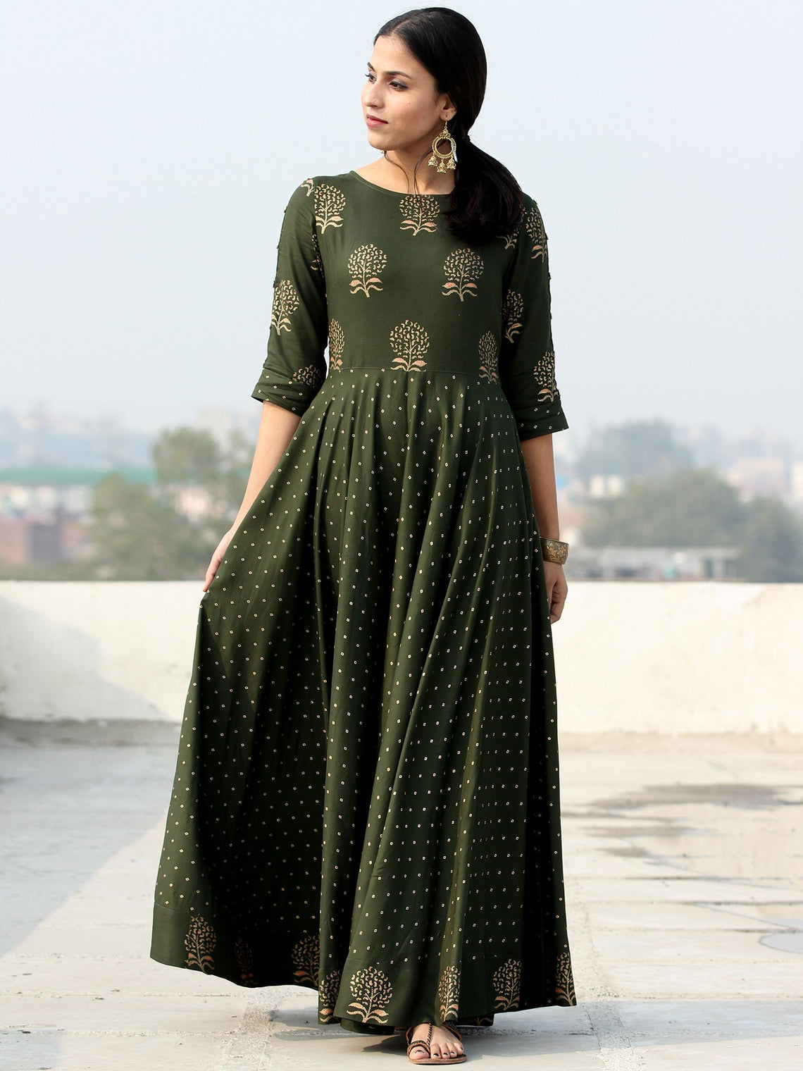 Diba - Green Gold Block Printed Long Urave Cut Dress - D384FDDDD