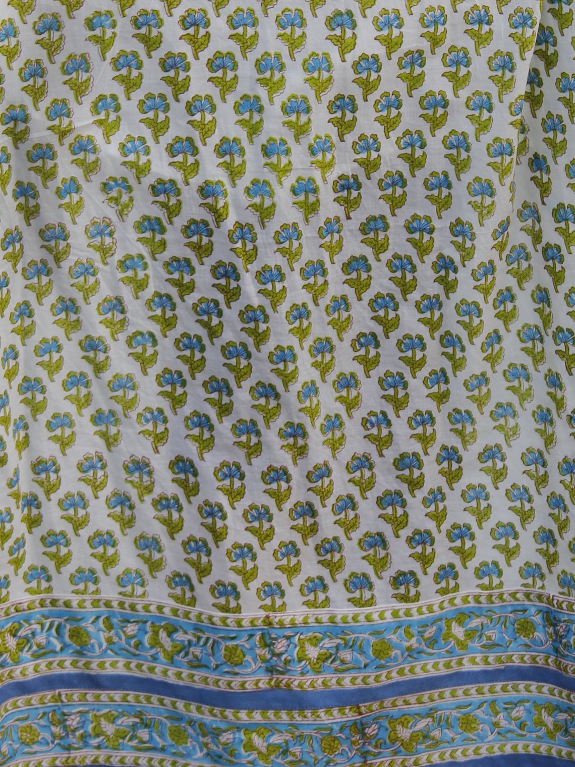 Naaz Aazina - White Green Light Blue Hand Block Printed Angrakha Dress With Gathers -  DS11F004