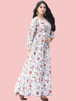 Tabassum - Hand Block Printed Long Cotton Tier Dress - D405F2180