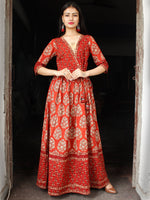 Motif Saga - Hand Block Printed Cotton Long Angrakha Dress  - D338F1830