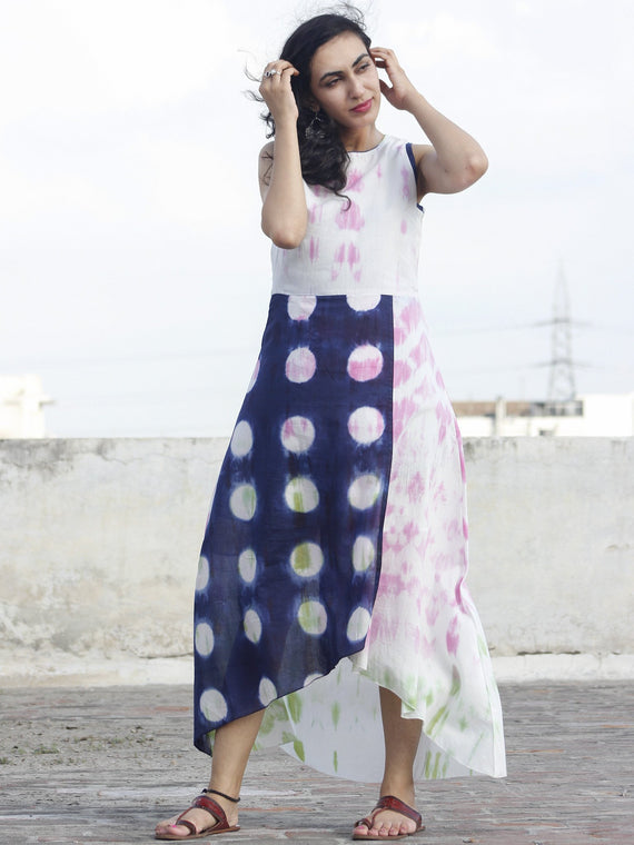 Naaz Gulabo - White Indigo Pink Green Tie Dye Asymmetrical Sleeveless Dress With Back Zip  - DS24F001