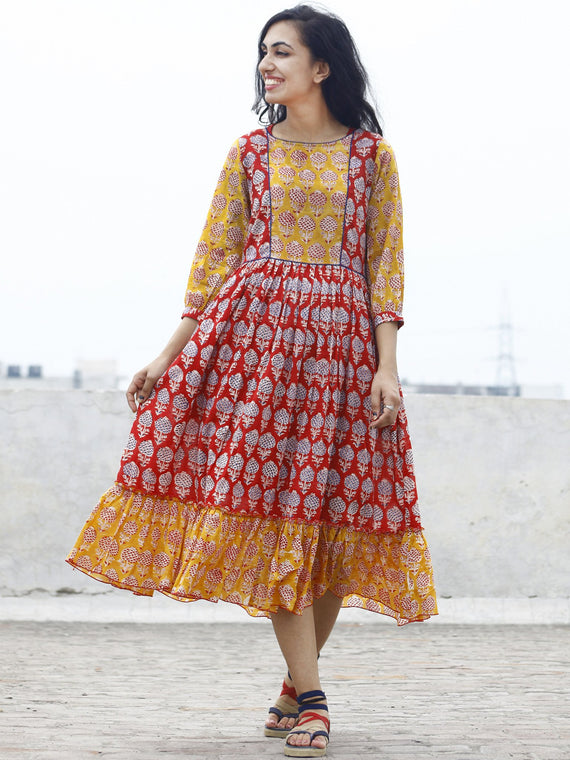 Red Yellow Blue ivory Hand block Printed Dress With Gathers And Peasant Sleeves  - D77F780