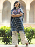 Patchy Indigo - Hand Block Printed Kurta Set - SS01F1730