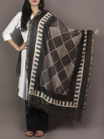 Brown Beige Black Chanderi Hand Black Printed Dupatta - D04170113