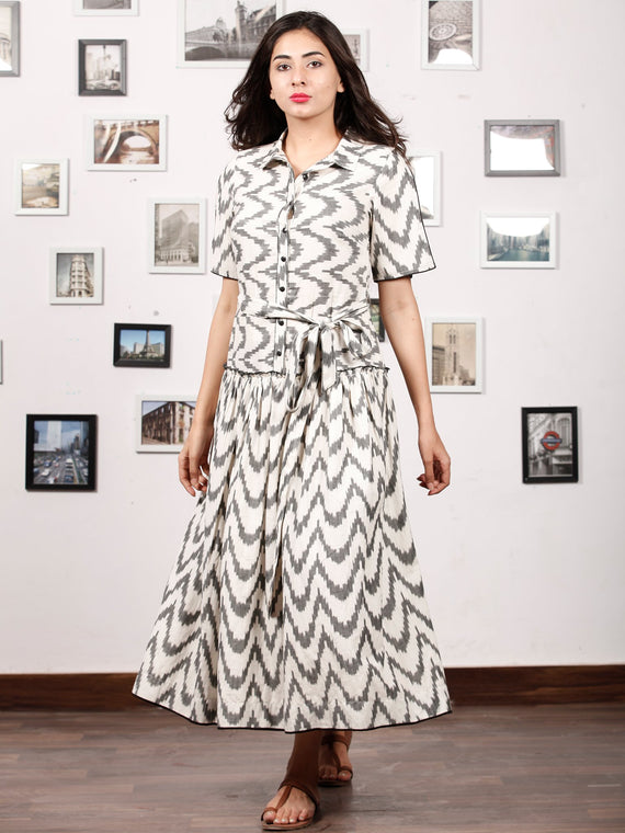 MONOCHROME PLAY - Handwoven Ikat Midi Dress - D324F1452